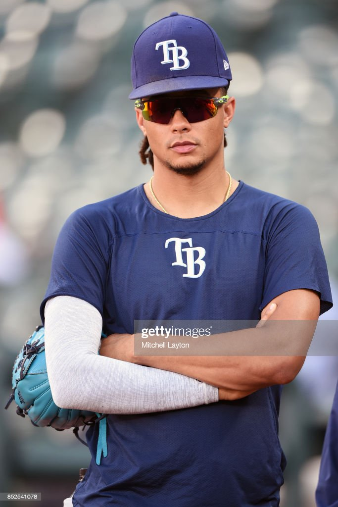 Chris Archer #22 of the Tampa Bay Rays looks on during batting practice of a baseball game against the Baltimore Orioles at Oriole Park at Camden Yards on September 23, 2017 in Baltimore, Maryland.