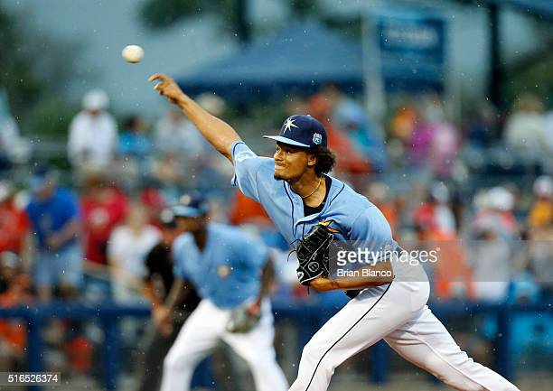 Chris Archer of the Tampa Bay Rays pitches against the Baltimore Orioles during the first inning of an MLB spring training game on March 19 2016 at...