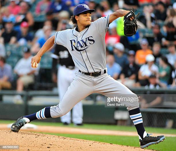 Chris Archer of the Tampa Bay Rays pitches against the Chicago White Sox during the first inning on August 4 2015 at US Cellular Field in Chicago...