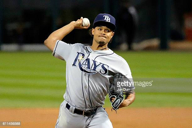 Chris Archer of the Tampa Bay Rays pitches against the Chicago White Sox during the first inning at US Cellular Field on September 29 2016 in Chicago...