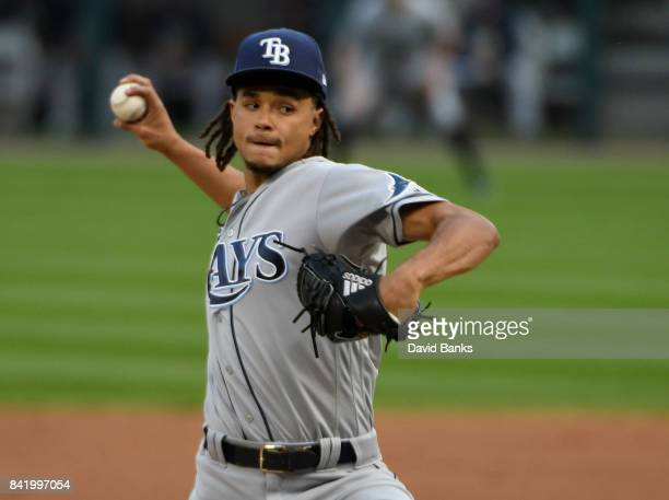 Chris Archer of the Tampa Bay Rays pitches against the Chicago White Sox during the first inning on September 2 2017 at Guaranteed Rate Field in...