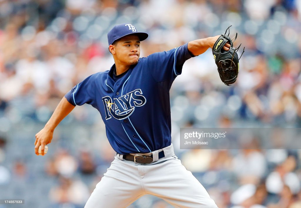 Chris Archer #22 of the Tampa Bay Rays pitches against the New York Yankees at Yankee Stadium on July 27, 2013 in the Bronx borough of New York City.