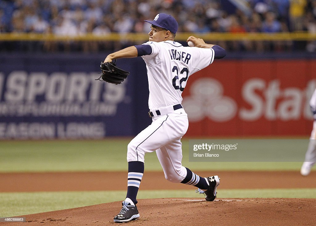 Chris Archer #22 of the Tampa Bay Rays pitches against the New York Yankees on April 19, 2014 at Tropicana Field in St. Petersburg, Florida.