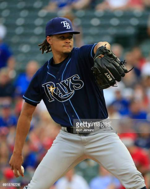Chris Archer of the Tampa Bay Rays pitches against the Tampa Bay Rays during the first inning at Globe Life Park in Arlington on May 31 2017 in...