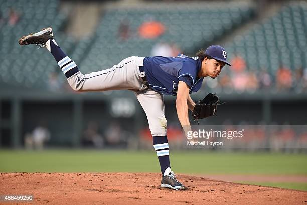 Chris Archer of the Tampa Bay Rays pitches during a baseball game against the Baltimore Orioles at Oriole Park at Camden Yards on August 31 2015 in...