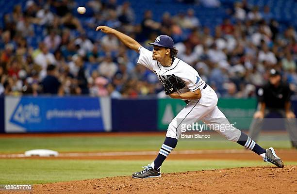 Chris Archer of the Tampa Bay Rays pitches during the fifth inning of a game against the New York Yankees on September 16 2015 at Tropicana Field in...