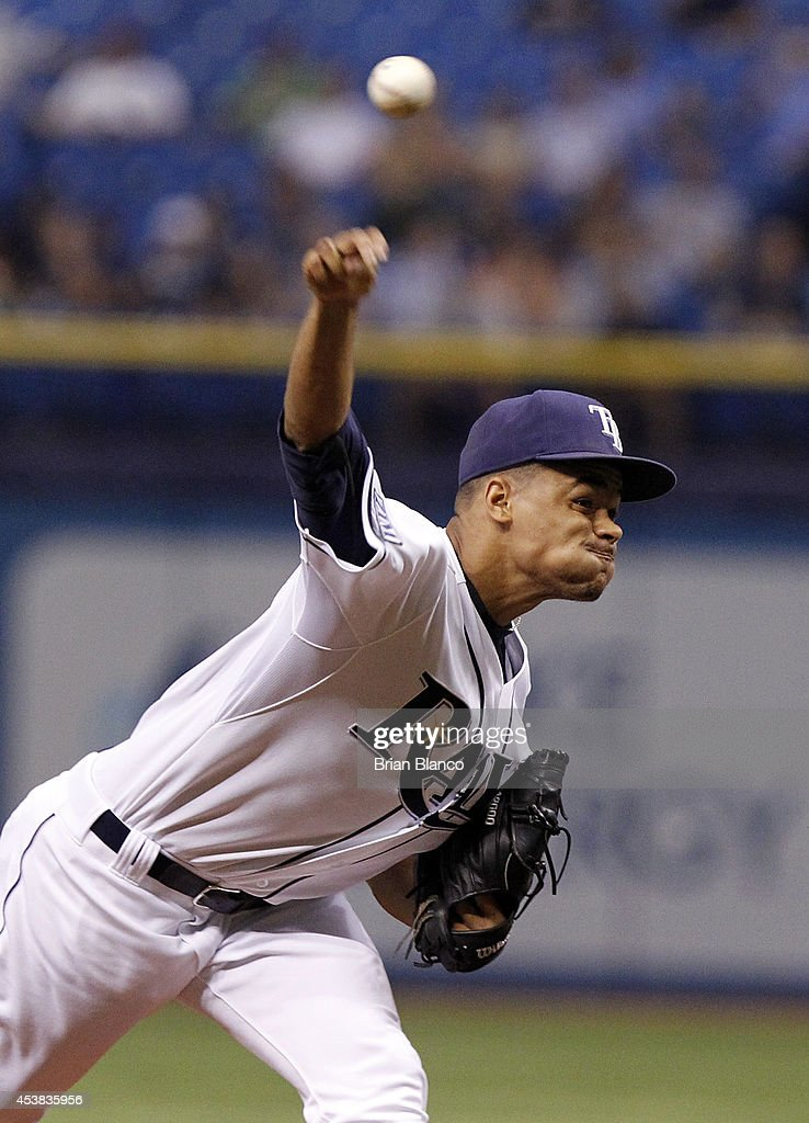 Chris Archer #22 of the Tampa Bay Rays pitches during the first inning of a game against the Detroit Tigers on August 19, 2014 at Tropicana Field in St. Petersburg, Florida.