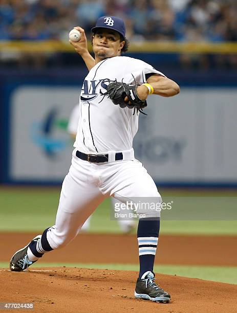 Chris Archer of the Tampa Bay Rays pitches during the first inning of a game against the Chicago White Sox on June 13 2015 at Tropicana Field in St...