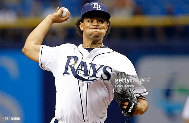 Chris Archer of the Tampa Bay Rays pitches during the first inning of a game against the Toronto Blue Jays on June 23 2015 at Tropicana Field in St...
