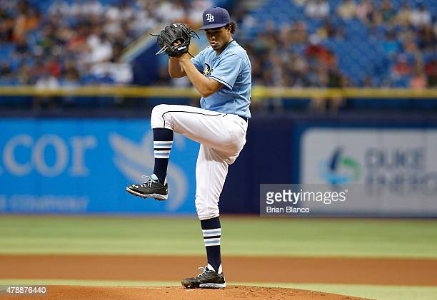 Chris Archer of the Tampa Bay Rays pitches during the first inning of a game against the Boston Red Sox on June 28 2015 at Tropicana Field in St...