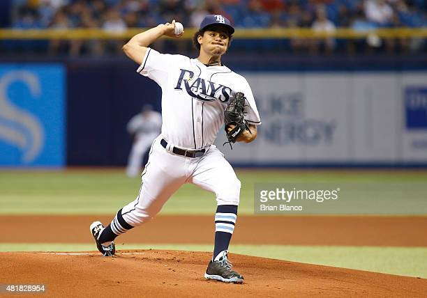 Chris Archer of the Tampa Bay Rays pitches during the first inning of a game against the Baltimore Orioles on July 24 2015 at Tropicana Field in St...