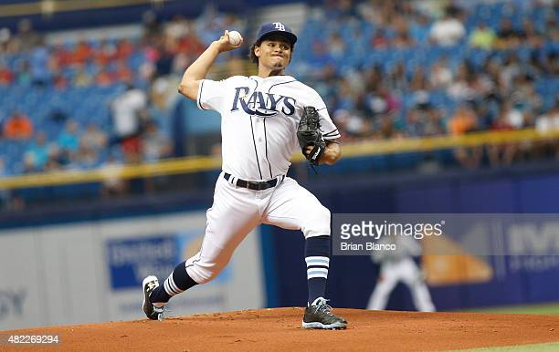 Chris Archer of the Tampa Bay Rays pitches during the first inning of a game against the Detroit Tigers on July 29 2015 at Tropicana Field in St...