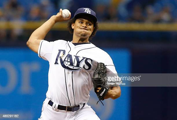 Chris Archer of the Tampa Bay Rays pitches during the first inning of a game against the Minnesota Twins on August 26 2015 at Tropicana Field in St...