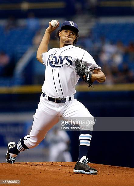 Chris Archer of the Tampa Bay Rays pitches during the first inning of a game against the Boston Red Sox on September 11 2015 at Tropicana Field in St...