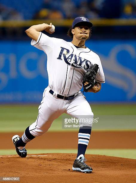 Chris Archer of the Tampa Bay Rays pitches during the first inning of a game against the New York Yankees on September 16 2015 at Tropicana Field in...