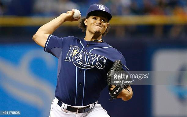 Chris Archer of the Tampa Bay Rays pitches during the first inning of a game against the Toronto Blue Jays on October 3 2015 at Tropicana Field in St...