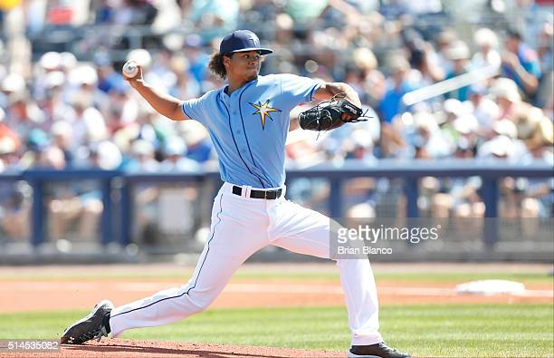 Chris Archer of the Tampa Bay Rays pitches during the first inning of an MLB spring training gameagainst the Toronto Blue Jays on March 9 2016 at...