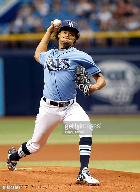 Chris Archer of the Tampa Bay Rays pitches during the first inning of a game against the Toronto Blue Jays on April 3 2016 at Tropicana Field in St...