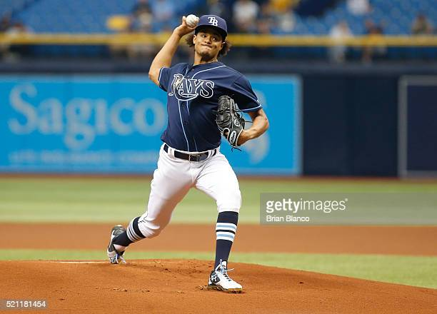 Chris Archer of the Tampa Bay Rays pitches during the first inning of a game against the Cleveland Indians on April 14 2016 at Tropicana Field in St...