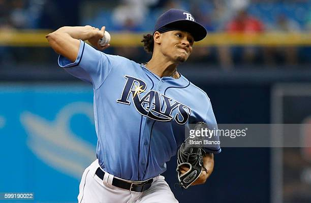 Chris Archer of the Tampa Bay Rays pitches during the first inning of a game against the Toronto Blue Jays on September 4 2016 at Tropicana Field in...