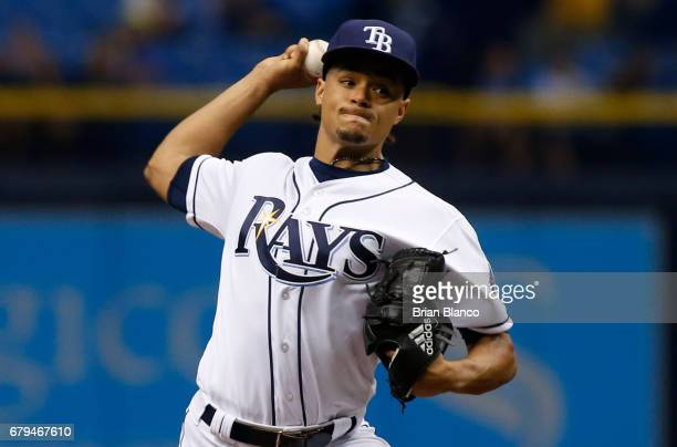 Chris Archer of the Tampa Bay Rays pitches during the first inning of a game against the Toronto Blue Jays on May 5 2017 at Tropicana Field in St...