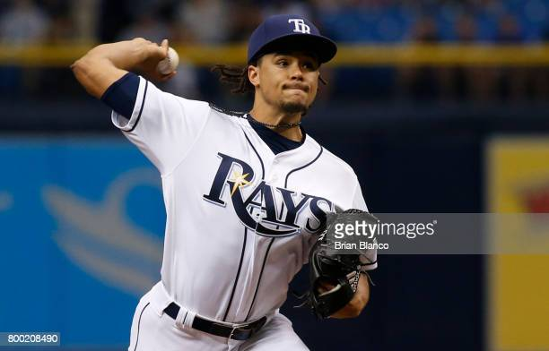 Chris Archer of the Tampa Bay Rays pitches during the first inning of a game against the Baltimore Orioles on June 23 2017 at Tropicana Field in St...