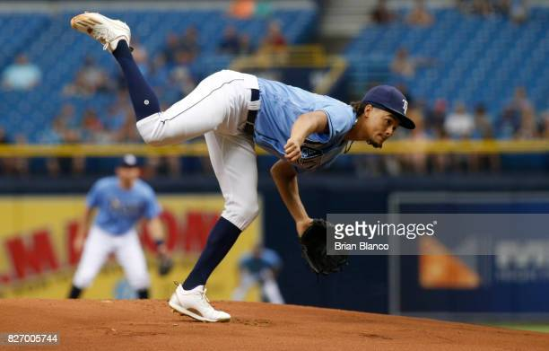 Chris Archer of the Tampa Bay Rays pitches during the first inning of a game against the Milwaukee Brewers on August 6 2017 at Tropicana Field in St...