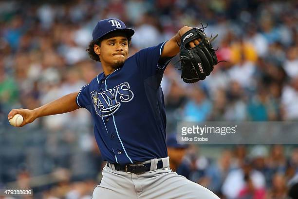 Chris Archer of the Tampa Bay Rays pitches in the first inning against the New York Yankees at Yankee Stadium on July 3 2015 in the Bronx borough of...