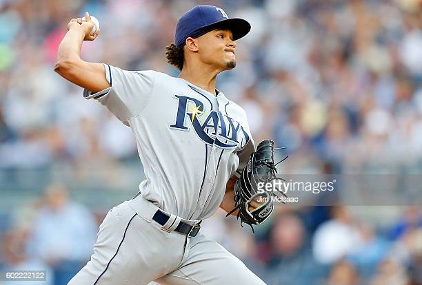 Chris Archer of the Tampa Bay Rays pitches in the first inning against the New York Yankees at Yankee Stadium on September 10 2016 in the Bronx...