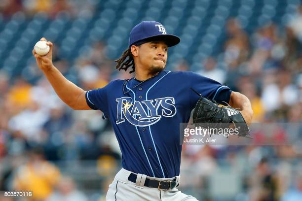 Chris Archer of the Tampa Bay Rays pitches in the first inning against the Pittsburgh Pirates during interleague play at PNC Park on June 29 2017 in...