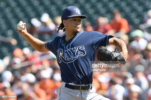 Chris Archer of the Tampa Bay Rays pitches in the first inning against the Baltimore Orioles at Oriole Park at Camden Yards on September 24 2017 in...
