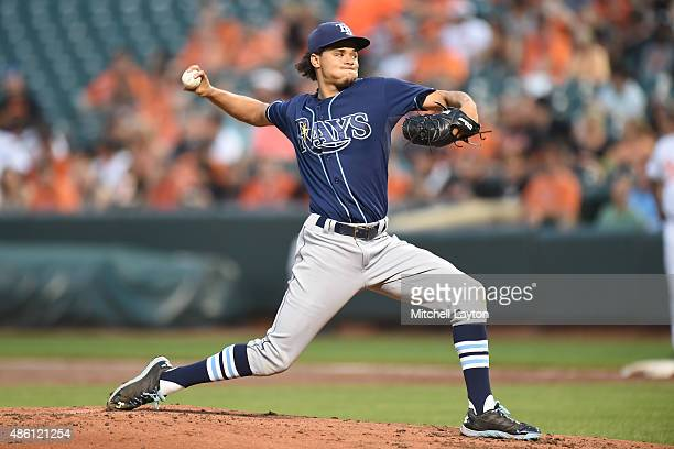 Chris Archer of the Tampa Bay Rays pitches in the second inning during a baseball game against the Baltimore Orioles at Oriole Park at Camden Yards...