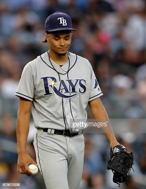 Chris Archer of the Tampa Bay Rays reacts after Jacoby Ellsbury of the New York Yankees scores in the second inning on July 27 2017 at Yankee Stadium...