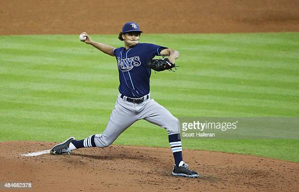 Chris Archer of the Tampa Bay Rays throws a pitch in the fifth inning during their game against the Houston Astros at Minute Maid Park on August 20...