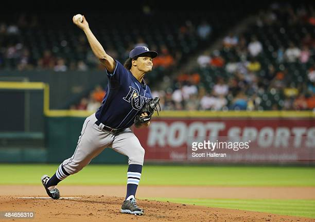 Chris Archer of the Tampa Bay Rays throws a pitch in the second inning during their game against the Houston Astros at Minute Maid Park on August 20...