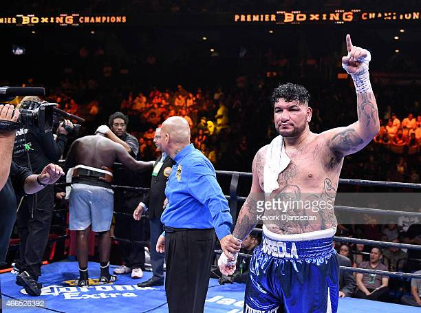 Chris Arreola celebrates after defeating Curtis Harper after their 10 round heavyweight bout at Citizens Business Bank Arena March 13 2015 in Ontario...
