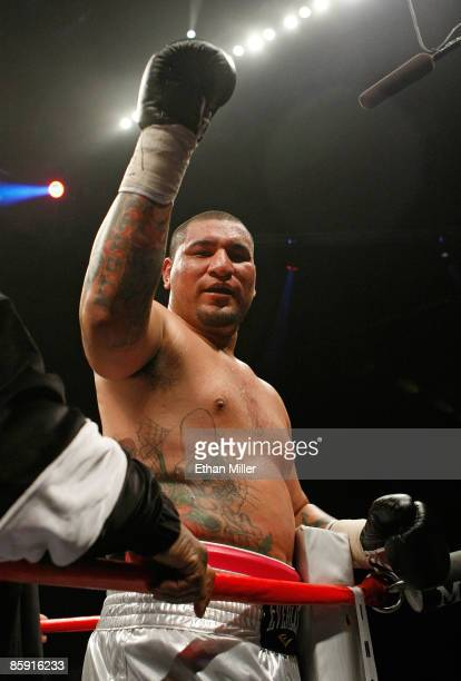Chris Arreola celebrates after knocking out Jameel McCline in the fourth round of their heavyweight bout at the Mandalay Bay Events Center April 11...