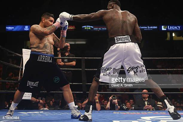 Chris Arreola fights WBC World Heavyweight Champion Deontay Wilder in a title fight at Legacy Arena at the BJCC on July 16 2016 in Birmingham Alabama