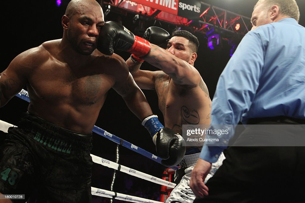<a gi-track='captionPersonalityLinkClicked' href=/galleries/search?phrase=Chris+Arreola&family=editorial&specificpeople=3990515 ng-click='$event.stopPropagation()'>Chris Arreola</a> (R) lands a left against Seth Mitchell (L) during their WBC International Heavyweight Title at the Fantasy Springs Resort Casino - Special Events Center on September 7, 2013 in Indio, California.