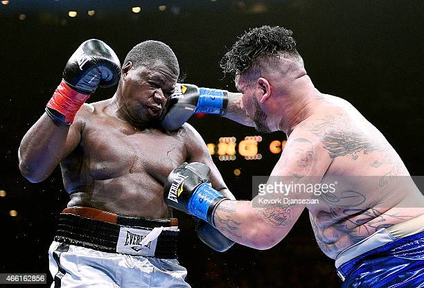 Chris Arreola lands a punch against Curtis Harper during their 10 round heavyweight bout at Citizens Business Bank Arena March 13 2015 in Ontario...