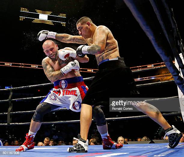 Chris Arreola throws a punch at Travis Kauffman in their heavyweight fight at ATT Center on December 12 2015 in San AntonioTexas