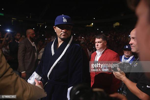 Chris Arreola walks to the ring for his World Heavyweight Title fight against Deontay Wilder at Legacy Arena at the BJCC on July 16 2016 in...