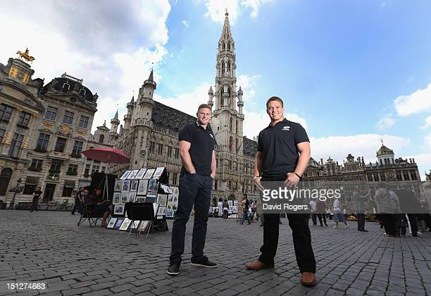 Chris Ashton and John Smit of Saracens poses in the Grand Place after a Saracens press conference held in the City Hall to preview the first Heineken...
