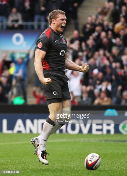 Chris Ashton of England celebrates after scoring a try during the Investec international test match between England and Australia at Twickenham...