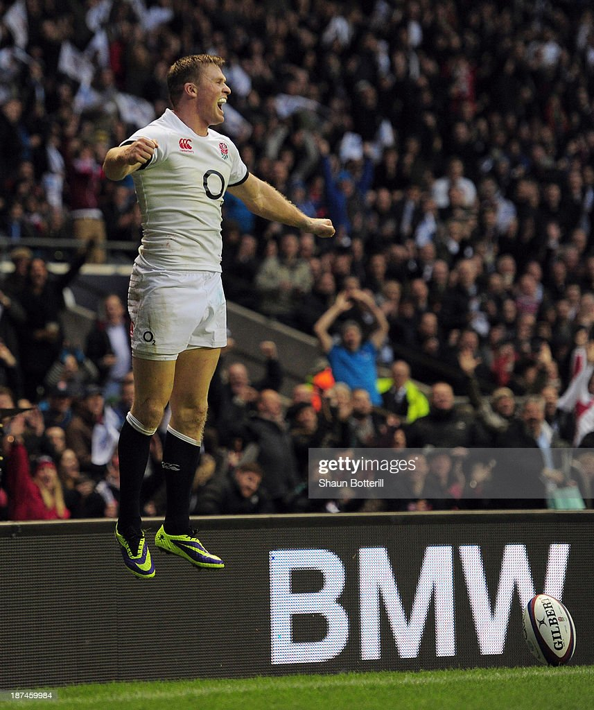 <a gi-track='captionPersonalityLinkClicked' href=/galleries/search?phrase=Chris+Ashton&family=editorial&specificpeople=2649431 ng-click='$event.stopPropagation()'>Chris Ashton</a> of England celebrates after scoring a try during the QBE International match between England and Argentina at Twickenham Stadium on November 9, 2013 in London, England.