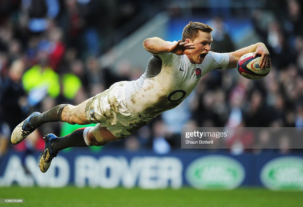 Chris Ashton of England dives over to score his team's eighth try try during the RBS 6 Nations Championship match between England and Italy at Twickenham Stadium on February 12, 2011 in London, England.