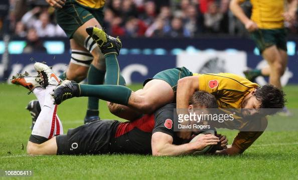 Chris Ashton of England scores a try during the Investec international test match between England and Australia at Twickenham Stadium on November 13...