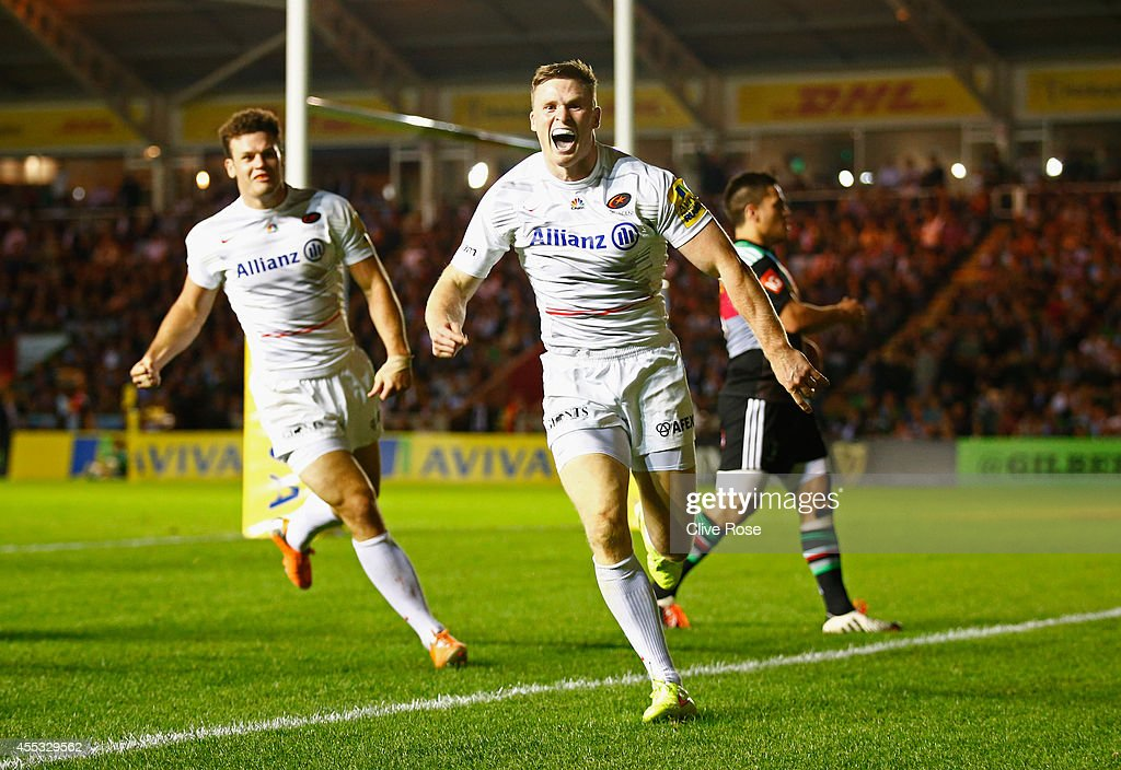 <a gi-track='captionPersonalityLinkClicked' href=/galleries/search?phrase=Chris+Ashton&family=editorial&specificpeople=2649431 ng-click='$event.stopPropagation()'>Chris Ashton</a> of Saracens celebrates his try during the Aviva Premiership match between Harlequins and Saracens at Twickenham Stoop on September 12, 2014 in London, England.