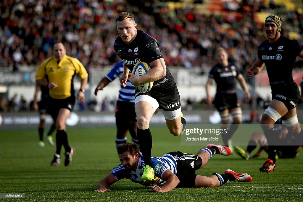 Chris Ashton of Saracens comes in to score a try during the match between Saracens and DHL Western Province at Allianz Park on November 9 2014 in...