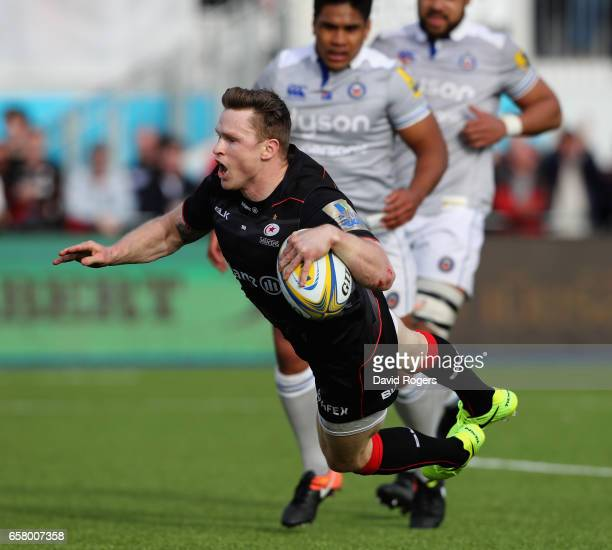 Chris Ashton of Saracens dives over for his second try during the Aviva Premiership match between Saracens and Bath at Allianz Park on March 26 2017...